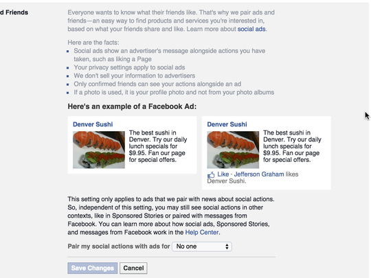 How to opt out of Facebook social ads settings