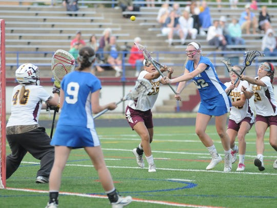 Stephen Decatur's Lexie VanKirk ties the game at 3-3 in the first half against Hereford in the 3A/2A state semifinal on Friday at Annapolis High School.