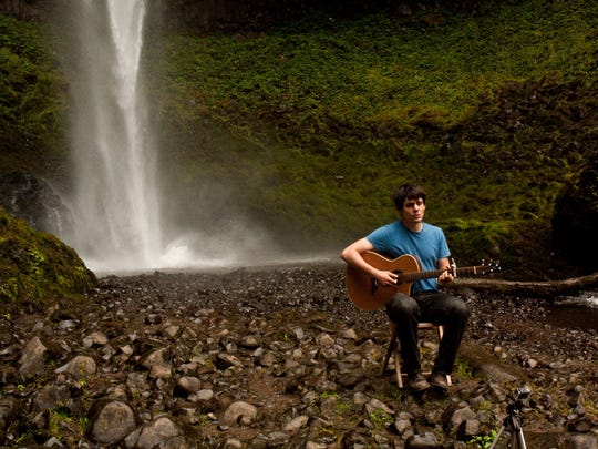 Slater Smith sings his original song 'Back O'er Oregon' in the Columbia River Gorge.