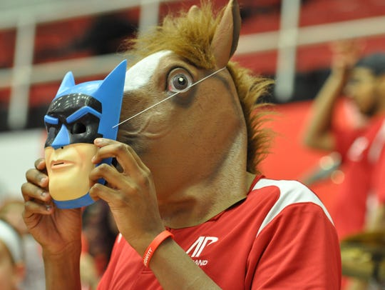 A member of Austin Peay's pep band goes incognito as