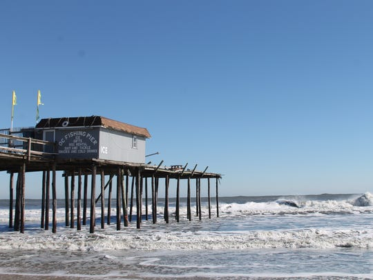 Damage to the OC Fishing Pier is shown on Sunday, Jan.