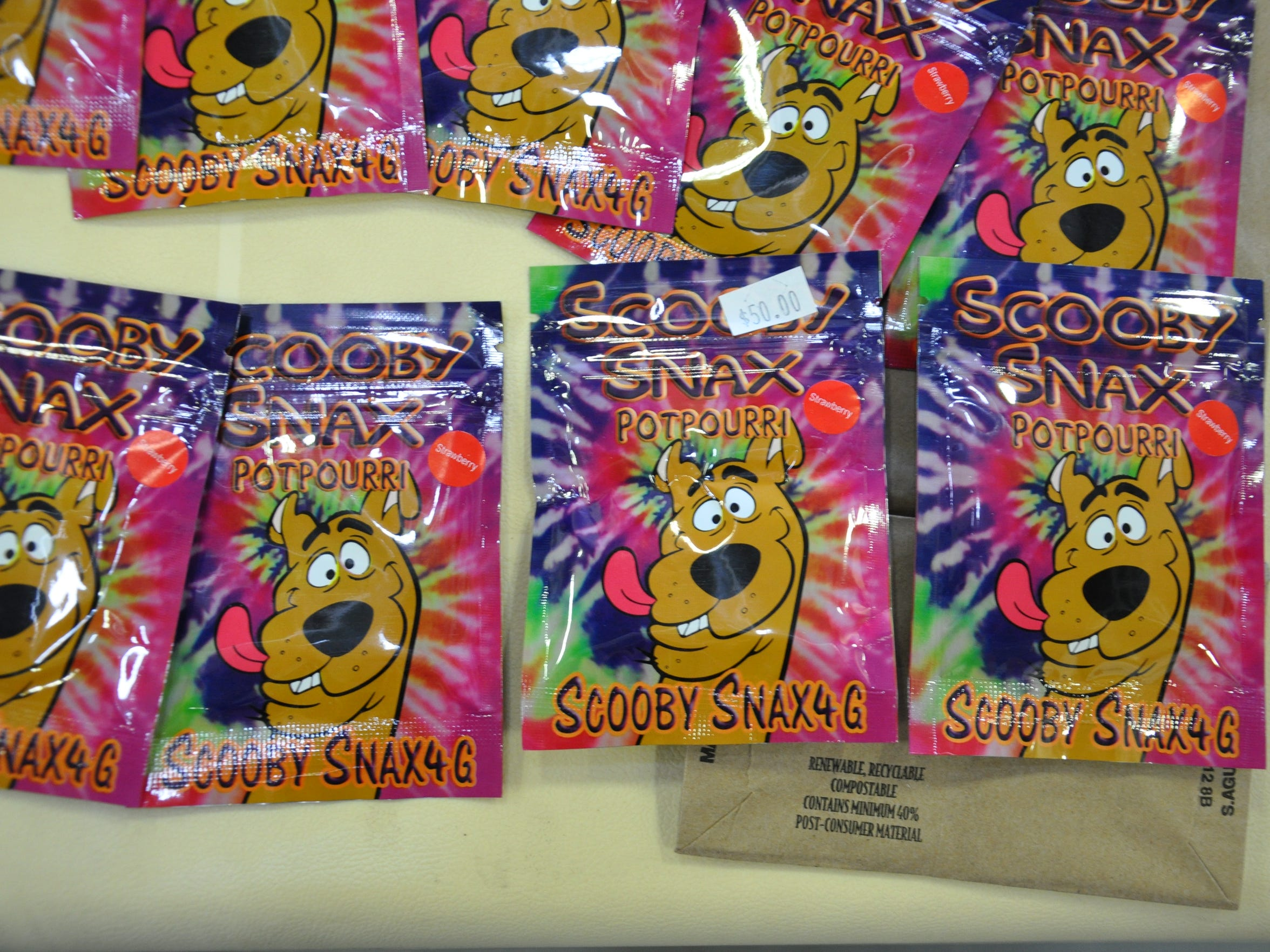 Packets advertising Scooby Snax contain the drug spice.