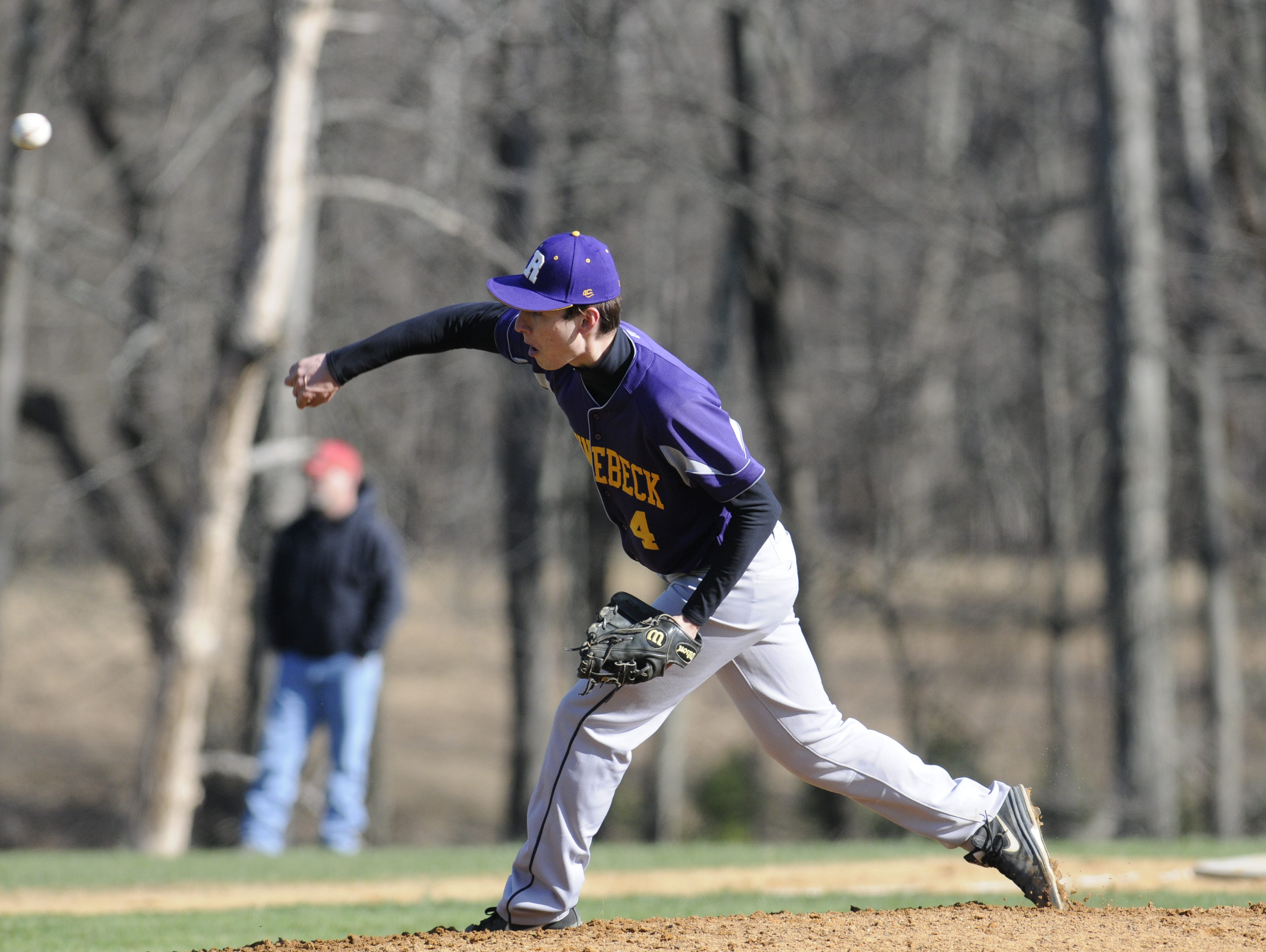 Rhine beck's Chris Cassens pitches during Wednesday's home game versus Webutuck.