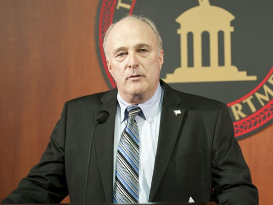 March 17, 2011 HAMILTONDRUGBUST METRO: Butler County prosecutor Mike Gmoser speaks during a press conference at the Hamilton Police headquarters Thursday morning, March 17, 2011. The Hamilton Police department's Vice section teamed up with the Bureau of Al