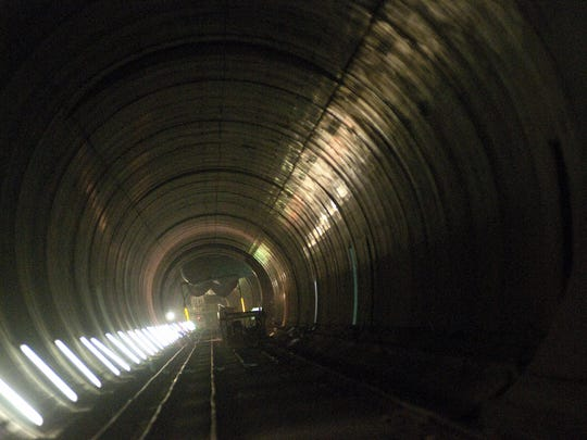 A view of the 35-mile railway tunnel under construction