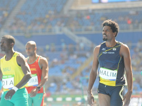 Former Cornell University athlete Muhammad Halim prepare to compete in the triple jump Monday at the Olympic Stadium in Rio de Janeiro.