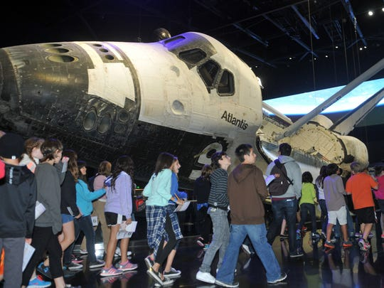 Space Shuttle Atlantis at Kennedy Space Center Visitor Complex is set at a 43.21 degree angle, signifying the countdown of a launch.