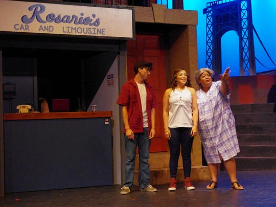 "Usnavi (Melbin Borrero III), Nina (Adelina Mitchell), and Abuela Claudia (Leslie Gonzales Gray) look to the future in ""In the Heights."""
