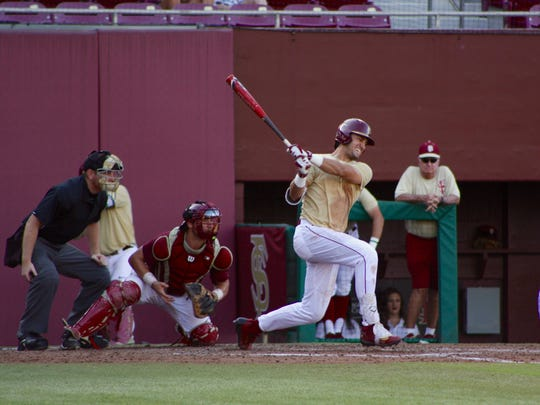 Sophomore Drew Mendoza powers through at the plate to earn a hit in the Garnet and Gold Scrimmage Game on Thurs., Oct. 12th.