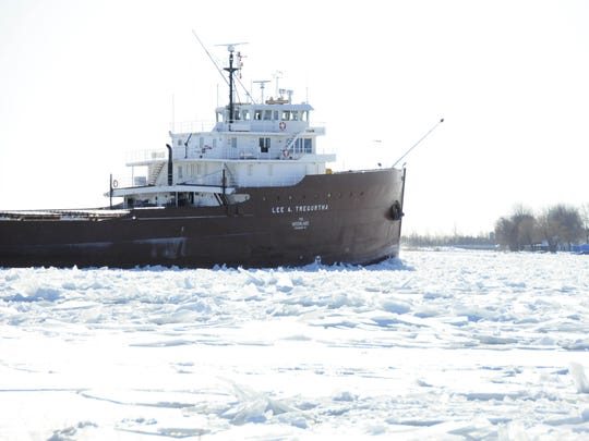The Lee A. Tregurtha heads south in the St. Clair River.