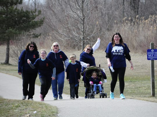 The extended Balhoff family participate Anthony's Walk for Autism Awareness on Saturday, April 21, 2018 at McIntyre Park in Fort Gratiot.