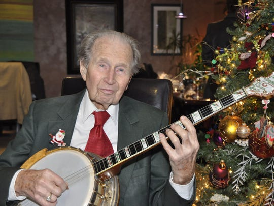 Jerry Perry of Salem has been a member of the Northwest Banjo Band for about 25 years. Perry turned 100 on Jan. 11, 2015.