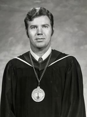 Cordell Maddox, eighth president of Anderson College, in Independent Mail file photographs from 1973.
