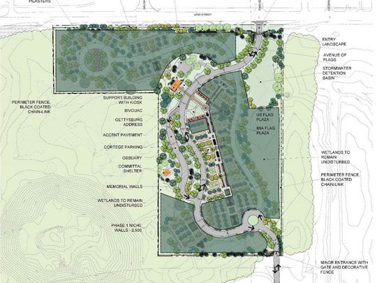 Site plan for veteran's national cemetery at Crown Hill Cemetery