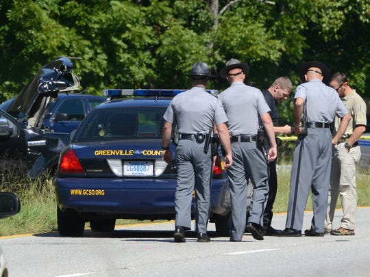 Greenville County Sheriffs Office and South Carolina Highway Patrol respond to the scene of a fatal accident on Highway 25 after a high-speed chase.