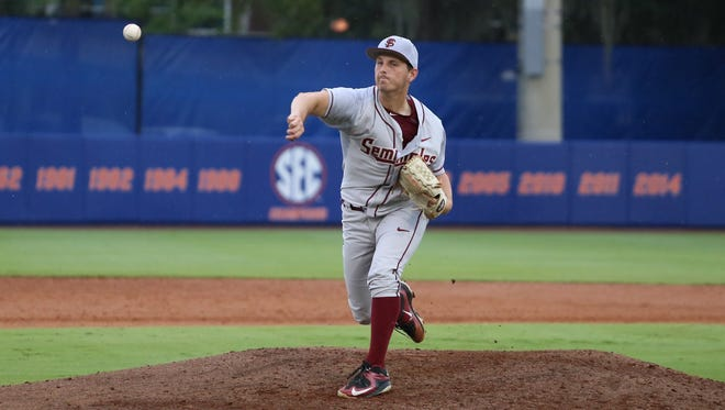 Drew Carlton pitched a complete game two-hit shutout against the Gators.