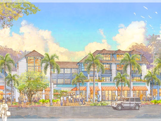 Rendering of Old Naples Hotel in downtown Naples. View from Third Street.