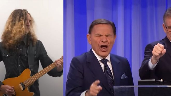 A screen grab of Andres Antunes' Kenneth Copeland metal remix