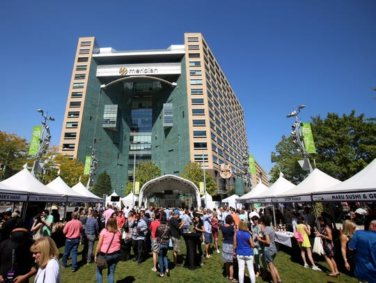 People attend the Detroit Free Press Food & Wine Experience