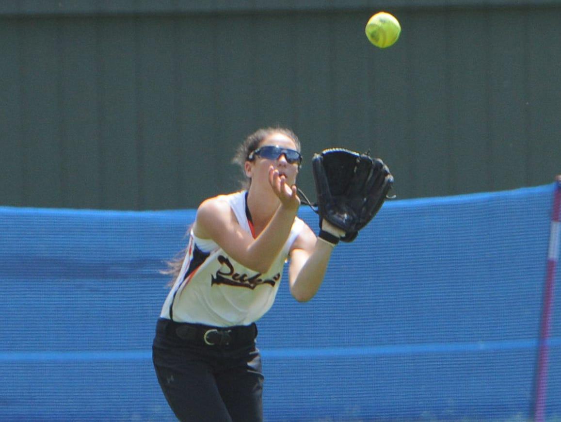 Marlboro's Melissa Sadler catches a fly ball a Class B regional semifinal against Rye Neck at Rhinebeck High School on June 4, 2015.