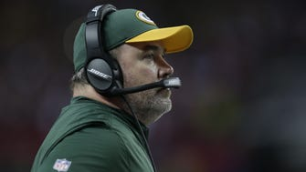 PACKERS23 PACKERS  - Green Bay Packers head coach Mike McCarthy looks at the clock during the 4th quarter of the Green Bay Packers 44-21 NFC Championship loss against the Atlanta Falcons at the Georgia Dome in Atlanta, Georgia on Sunday, January 22, 2017.