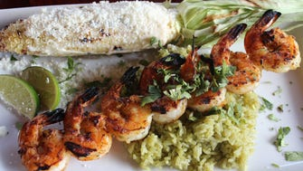 Tequila shrimp skewer from The Shannon Rose's grill menu.