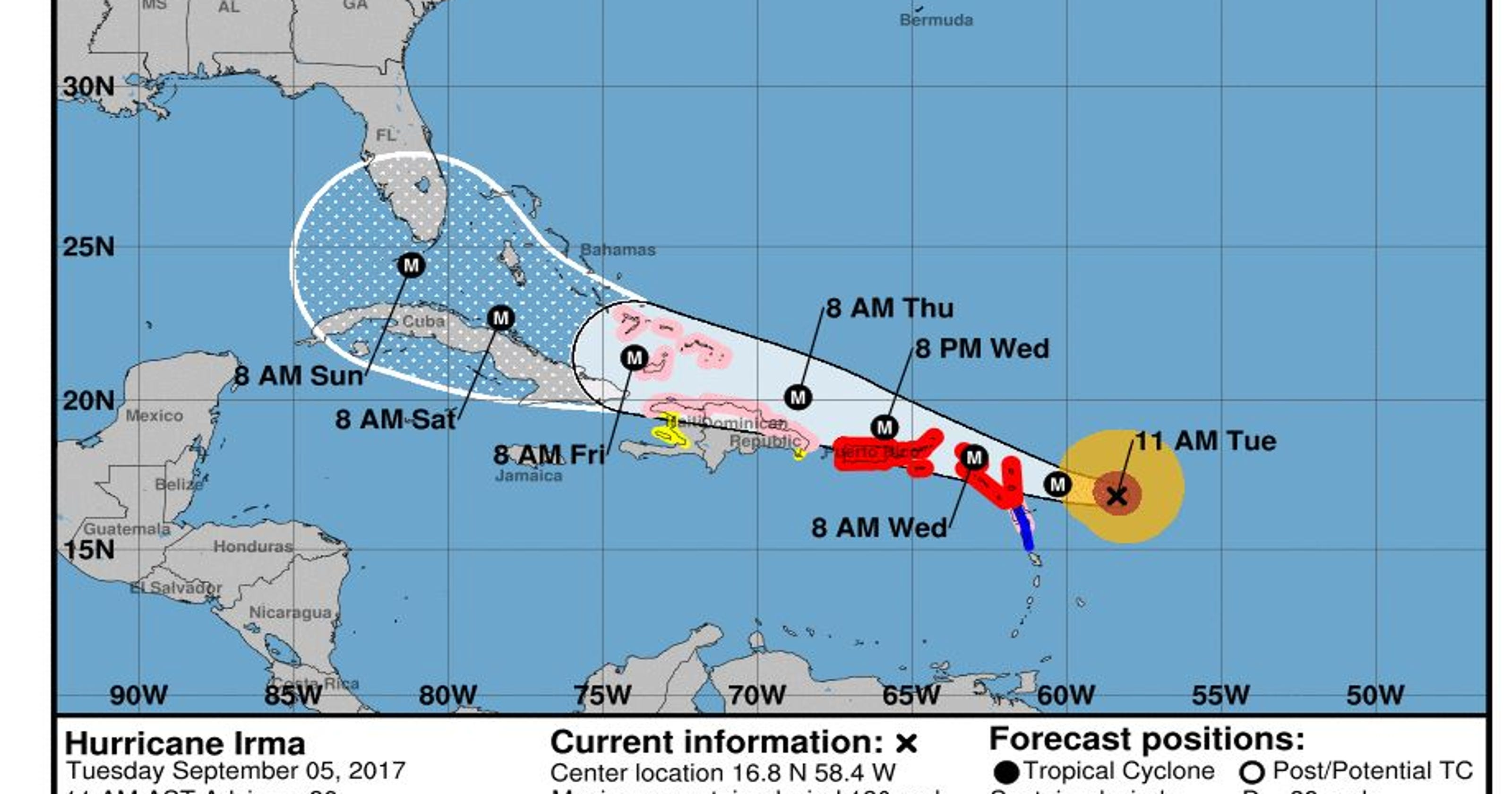 Hurricane Irma 11am update Storm ting stronger winds up to 180 mph