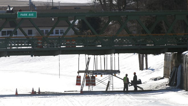 Repairs are being made on the Park Ave bridge over the Erie Canal in Brockport by the New York State DOT.
