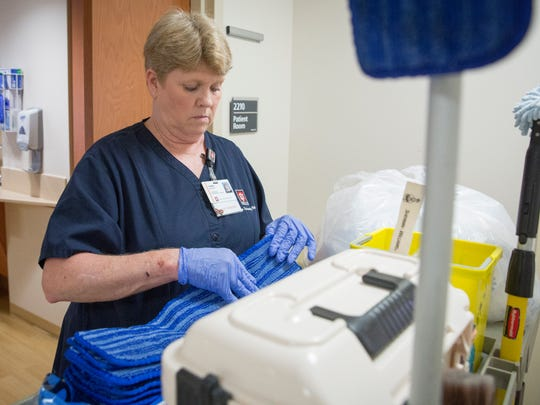 Tammy Moistner works her job as a housekeeper at IU