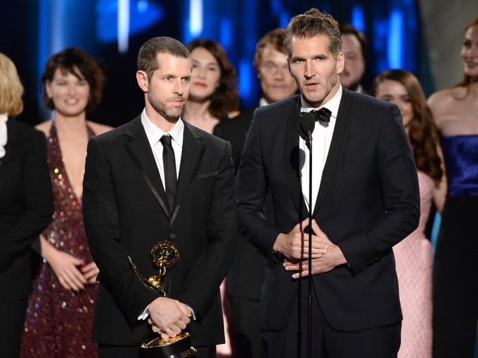 D.B. Weiss , left, and David Benioff received the award