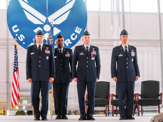 Col. Robert E. Kiebler prepares his final salute at his Change of Command ceremony at Holloman Air Force Base Friday morning.