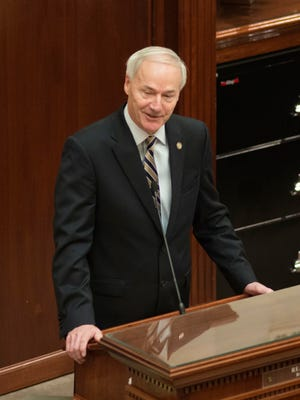 In this Jan. 10, 2017, file photo, Gov. Asa Hutchinson speaks to the Arkansas Legislature in Little Rock. As an execution drug approaches its expiration date, Hutchinson has ordered four double-executions across a 10-day period in April. Arkansas has no executed any inmate since 2005.