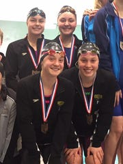 Lexington's 200 medley relay team of, clockwise from top, Liv Merkel, Kelsi Brown, Alli McFarland and Sage Moore earned a fourth-place medal in the state meet. It's the highest finish by a relay in program history.