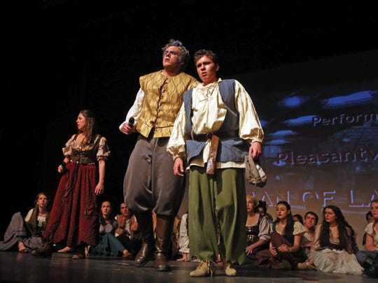 "Pleasantville High School performs ""Man of La Mancha"" during the 17th annual Metro Awards at Archbishop Stepinac High School in White Plains. James McCarthy, center left, was named outstanding leading actor for the second straight year for his portrayal of three roles in the musical about Don Quixote."