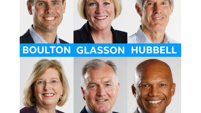 Democratic candidates for governor Nate Boulton (clockwise from top left), Cathy Glasson, Fred Hubbell, Andy McGuire, John Norris and Ross Wilburn.