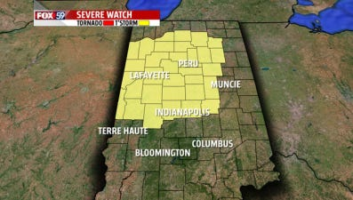 A severe thunderstorm watch has been issued for Indianapolis and parts of Central and Northern Indiana until midnight Aug. 25, 2014.