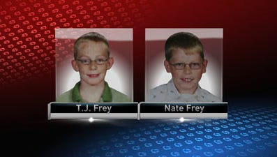 Brothers T.J. Frey, left, and Nate Frey apparently fell through the ice and drowned in an Iowa pond.