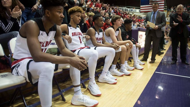 The New Albany starting five wait to be introduced including top recruit Romeo Langford (1) before the first round of the Class 4A regional at Seymour High School on Saturday, March 10, 2018. New Albany defeated Bloomington South 65-45.