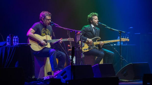 Comedic folk duo Flight of the Conchords played a sold-out show at the Riverside Theater Saturday.