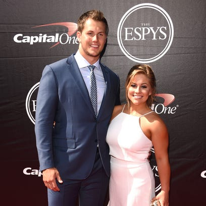 Shawn Johnson, right, and fiance Andrew East at the