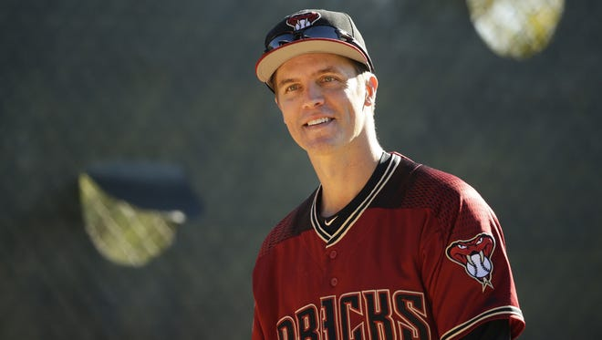 Zack Greinke prepares to throw in the bullpen for the first time at spring training on Feb. 15 at Salt River Fields.