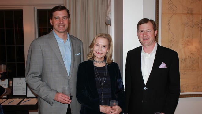 Grant Smothers, Lucie Carroll and Richard McRae at the home of Brian and Christy Waller for Ballet Ball 2018 Soiree de Corps.