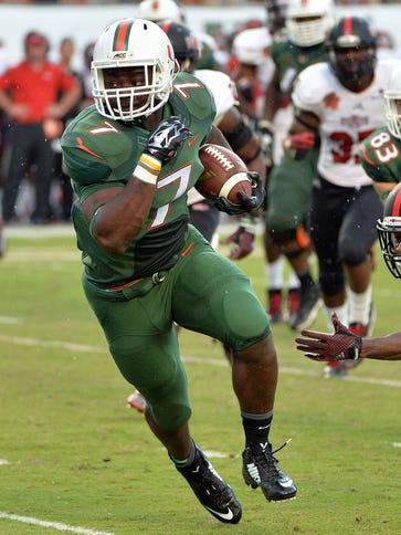 Miami will miss Gus Edwards (7) this season.