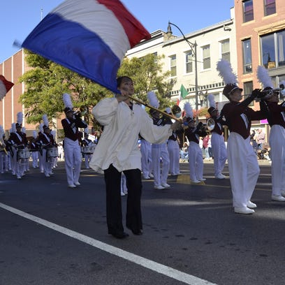 Johnson City's marching band performs during Monday's