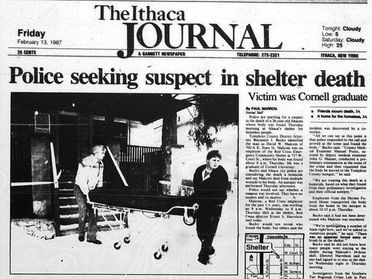 Front page of The Ithaca Journal on Friday, Feb. 13, 1987.