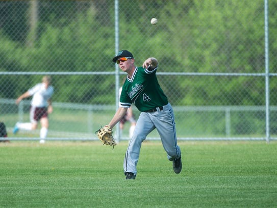 James Buchanan rightfielder Dalton Echard throws the