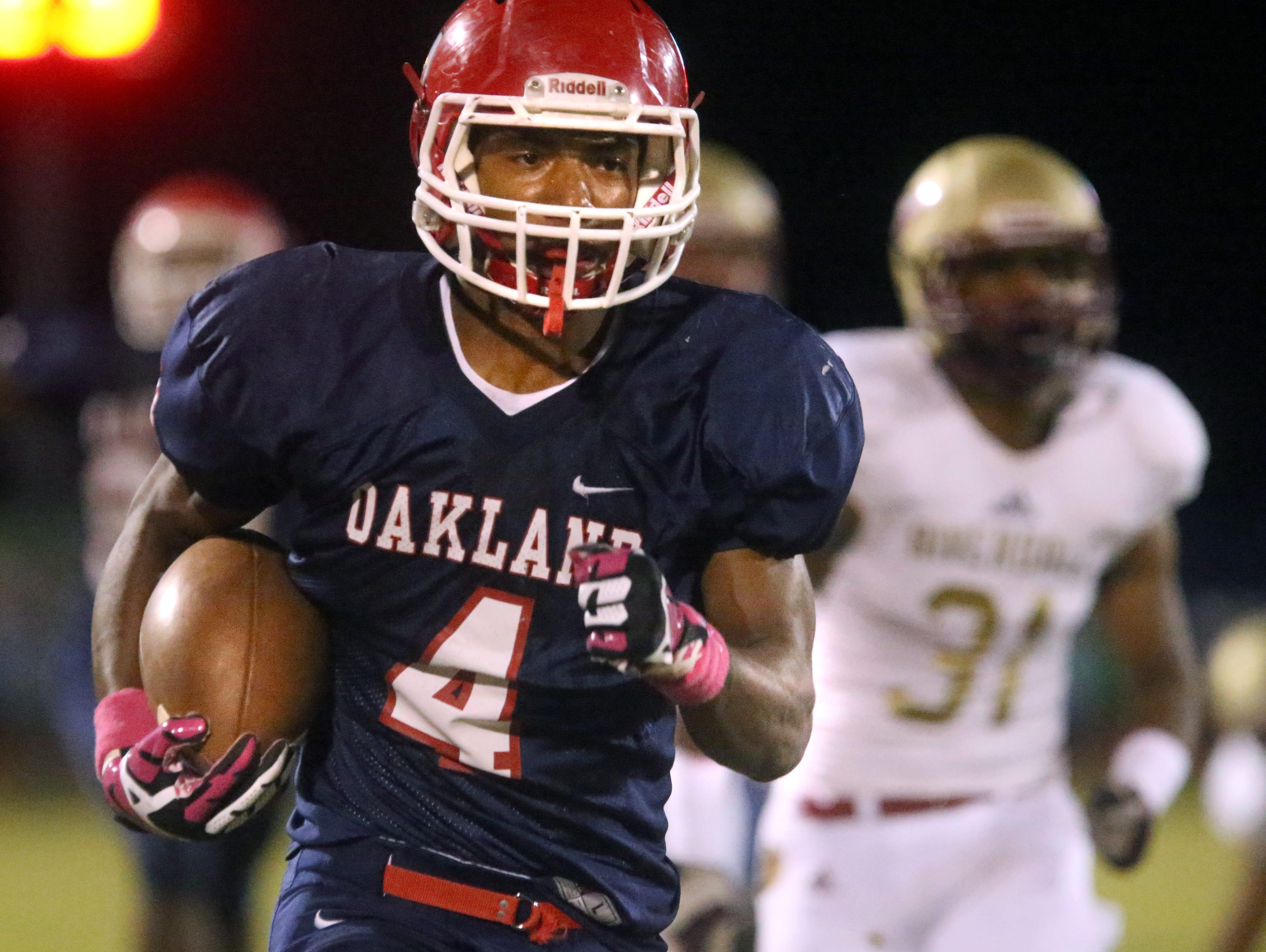 Oakland running back Lazarius Patterson (4).