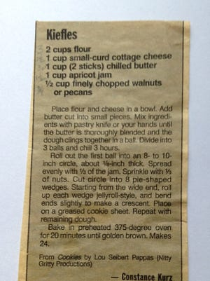 It seems there are several different recipes for kiffles. This one, sent to us by a reader, uses cottage cheese.