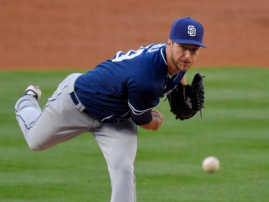 San Diego Padres starting pitcher Colin Rea throws to the plate during the second inning of a baseball game against the Los Angeles Dodgers, Saturday, April 30, 2016, in Los Angeles. (AP Photo/Mark J. Terrill)