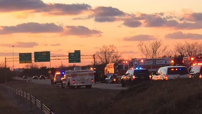Multiple emergency vehicles responded to a rollover collision on I-495 near the Del. 141 split Monday.